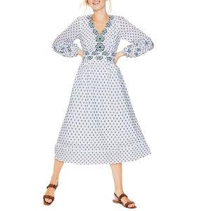 Boden Flossie Embroidered Midi White Dress Size 10